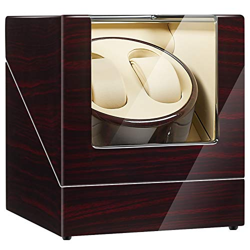 JQUEEN Double Watch Winder with Quiet Japanese Mabuchi Motor (C-Ebony)