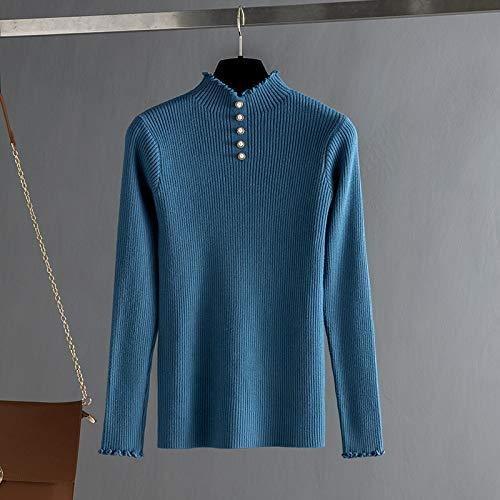 GUORUIMIN trui voor vrouwen, blauwe coltrui chique breigoed trui vrouwen herfst winter dikke warme winter zachte Comfy Jumper dames top kraal