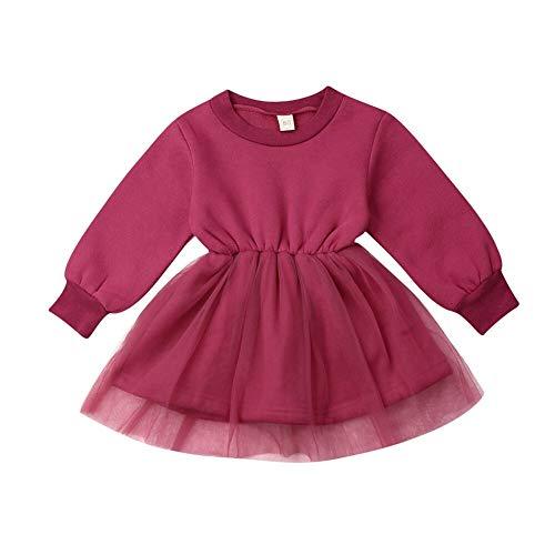 Dingdon Robe Fille Fille Princesse Tutu Bébé Enfants Filles Manches Longues Tutu Princesse Robe Automne Robe de Soirée Jupe Élégant Sweat-Shirt en Tulle Habillé (Bordeaux, 6-12mois)