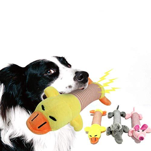 SZMYLED Quietsch-Spielzeug für Hunde, weiches Plüsch, interaktives Spielzeug, 1 x rosa Schwein, 1 x gelbe Ente, 1 x grauer Elefant, 3 Stück