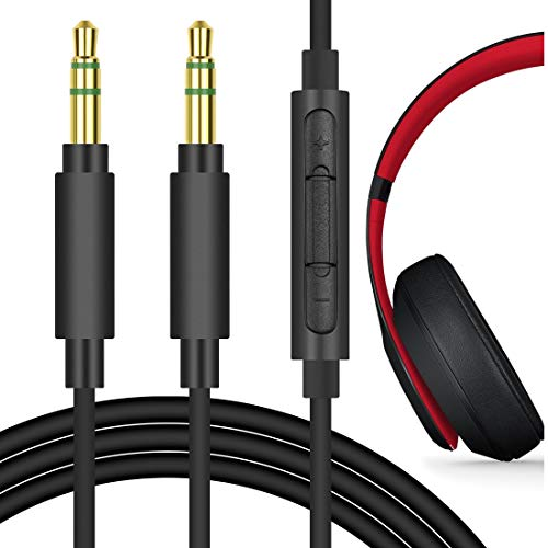 Geekria QuickFit Replacement Audio Cord for Beats Solo3, Solo2, Studio3, Studio2, Studio, Executive, Soul SL150BW Headphones - 3.5mm Stereo Cable with Microphone and Volume Control (Black 5.6FT)