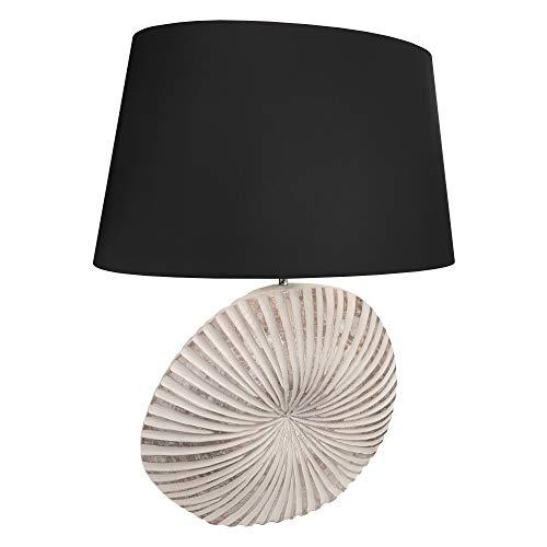 Tischlampe groß Fuß rund alt silber weiß gestreift Stoff Lampenschirm schwarz glänzend E27 Fassung 60 cm hoch