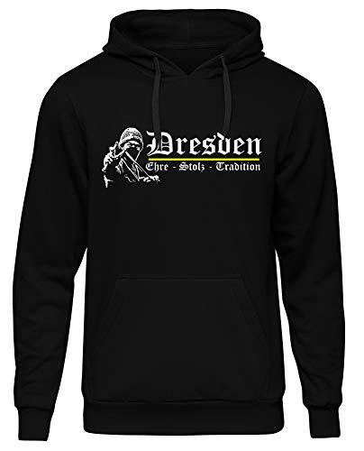 Dresden Ehre & Stolz Männer und Herren Kapuzenpullover | Fussball Ultras Geschenk | M1 FB (Schwarz, M)
