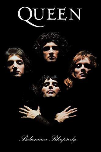 Buyartforless Queen Bohemian Rhapsody 1975 Group Portrait 36x24 Music Art Print Poster, Black, White, Brown