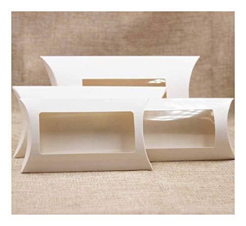 Homeilteds 10pc 16 * 7 * 2.4cm Brown/Blanco/Negro de cartón Almohada Ventana de la Caja con Clear PVC for de Proucts/Regalos/favores/Pantalla Embalaje Mostrar Presents