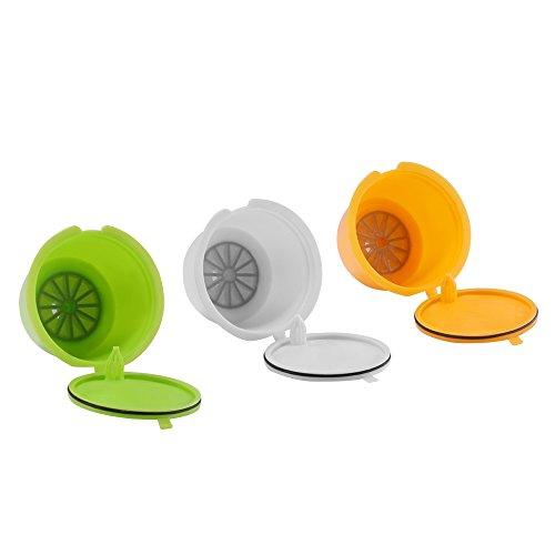FreeLeben Cápsulas de Café Vainas, 3 Unidades Reutilizable Universal Dolce Gusto Máquina Filtro de Café sin BPA, con Cuchara y Cepillo