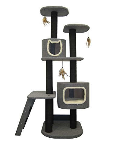 Penn Plax Cat Tower 5-Level Climbing Tree, Includes Hideaways and Perches, and Cat Toys for Entertainment