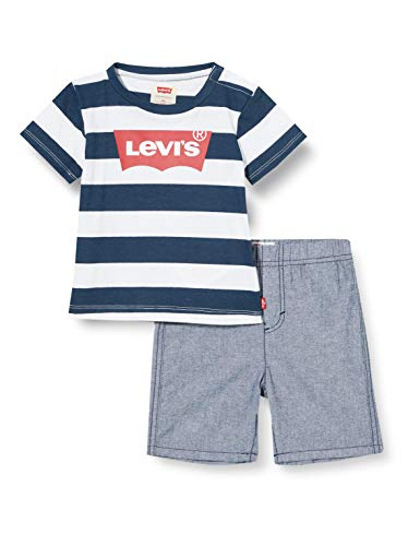 Levi's Kids Lvb Inside Out Tee W Short Set Conjunto Bebé-Niños Dress Blues 3 meses