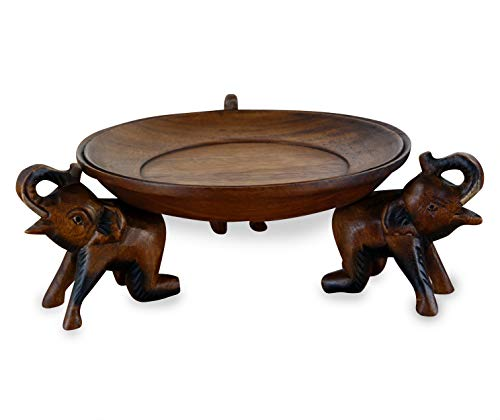 livasia Obstschale, Gebäckschale mit Elefanten aus Holz, Brotschale, asiatische Deko Schale Run, Holzelefanten