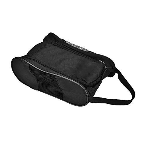 Zerone Tragbare Golfschuhe Tasche Atmungsaktiv Staubdicht Aufbewahrungs Organisator Reißverschluss Schuhbeutel mit Tasche für die Aufbewahrung Sport-Zubehör(Schwarz)
