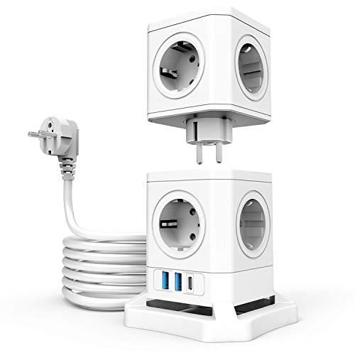 TATE GUARD 10 Fach Überspannungsschutz Steckdosenturm Steckdosenleiste mit 3 USB,abnehmbare Steckdose,2500 W/10A,30W Schnellladung,Überlastschutz,feuerhemmend,2M-Verlängerungskabel für Heim und Büro