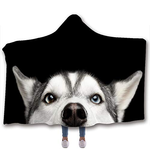 Chickwin Coperta con Cappuccio 3D Cane, Stile Artistico Morbido Pile Inverno Calda Comoda Indossabile Coperta per Adulto Bambino Relax sul Divano TV, in casa (150x200cm,Cane dell'Alaska)