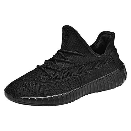 CUTUDE Herren Urnschuhe Bequem Mesh Ultra Leicht Atmungsaktives Mesh Herren Slip Outdoor Schuhe Sneakers Wilde Freizeit Laufschuhe (Schwarz, 42 EU)