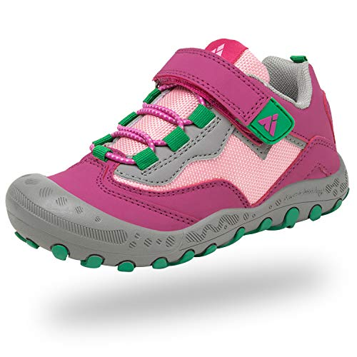 Mishansha Velcro Zapatos Niño Niña para Montaña Senderismo Ligero Zapatillas de Correr Caminar Running Calzado Deportivos Chicos Respirable Antideslizante Casual(267 Rosado, 26 EU)