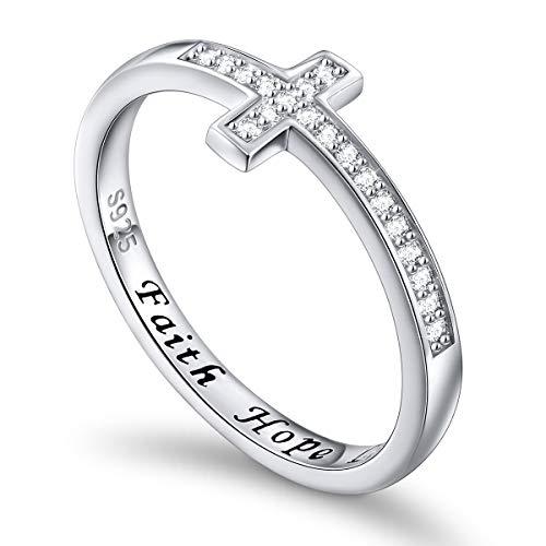 Flyow 925 Sterling Silber Schmuck Seitwärts Kreuz weiß Ring Gravur Faith Hope Love (57 (18.1))