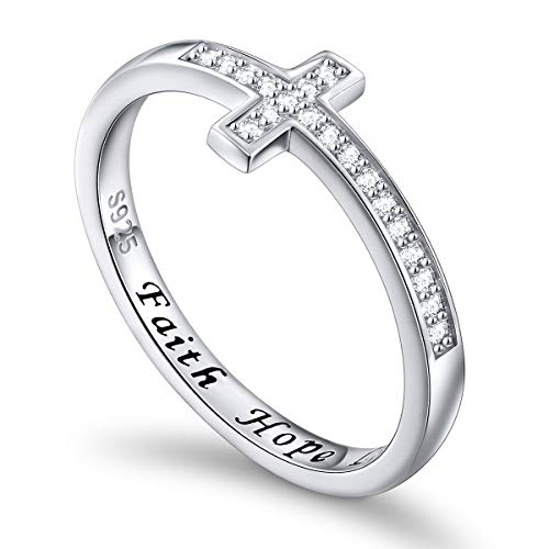Flyow 925 Sterling Silver jewellery Sideways Cross White Ring Engraved Faith Hope Love