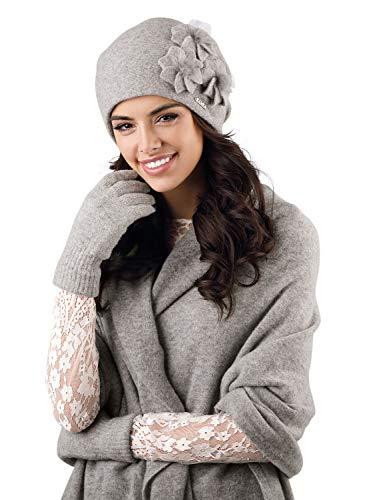 Kamea - Winterset Teramo -stylische Mütze mit passendem Schal - verschiedene Farbauswahl, Winter Set:Grau