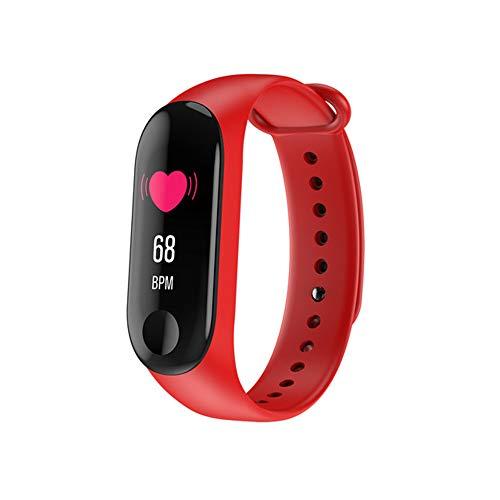 WG Smart Armband Herzfrequenz-Blutdruck-Test Sportarmband Smart Erinnerung Bluetooth Schrittzähler OLED-Vollbild-Anzeige 0,96 großen Bildschirm,Red
