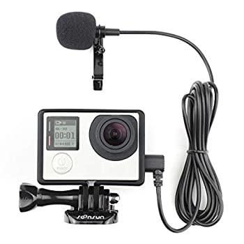 SOONSUN Frame Mount Housing Case with External Lavalier Lapel Clip-on Microphone for GoPro Hero 3 Hero3+ Hero 4 Black White Silver Action Cameras