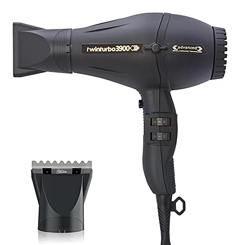 Turbo Power TwinTurbo 3900 Advanced Black Ionic & Ceramic Technology Eco Friendly Hair Dryer and M Hair Designs Hot Blow Attachment Silver (Bundle - 2 Items)
