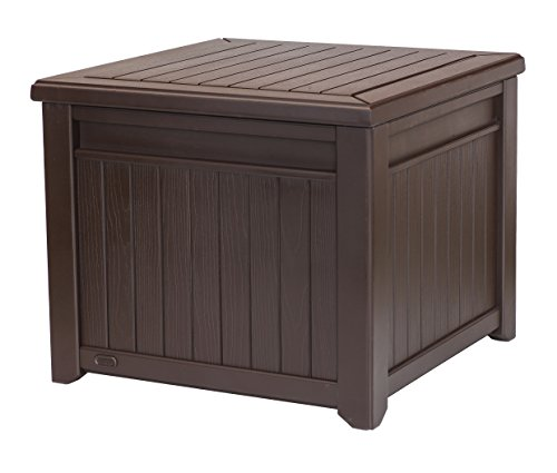 Keter 55 Gallon Resin Wood Look Outdoor Deck Box Table in One with Patio Furniture Cushion Storage, Brown