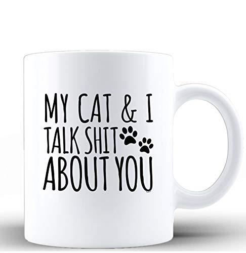Shop4Ever My Cat & I Talk About You Ceramic Coffee Mug