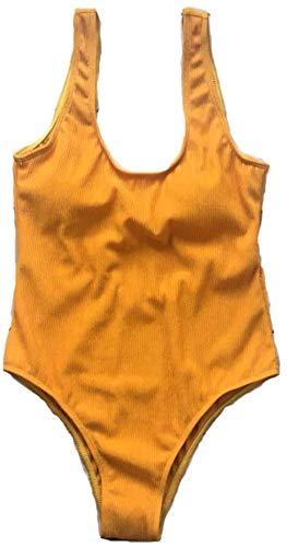 Vrouwen uit een stuk badpak Sexy backless U-hals bikini for strand en zwembad badmode, Maat: L, Kleur: geel (Color : Yellow, Size : L)