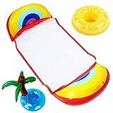 Joyhoop 4 en 1 Colchoneta Piscina Diseño de Arco Iris Creativo, con 2 Posavasos, Colchonetas para Piscina, para Playa Juegos de Agua Colchoneta de Flotadores Piscina para Adultos.