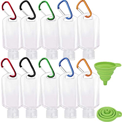 Travel Bottles with Keychain, 2oz/50ml Portable Plastic Travel Bottles - Leakproof Squeeze Bottles with Flip Cap - Empty Refillable Containers for Hand Sanitizer Conditioner Body Wash Liquid etc