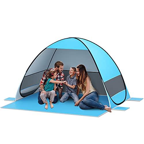 SAEYON XXL Tente de Plage, Automatique Pop Up Tente avec 360° Ventilation, Tente Anti UV50+ Automatique Instant Portable Tente pour 2-6 Personnes, Tente de Camping pour Famille, Randonnée, Pêche, Bleu