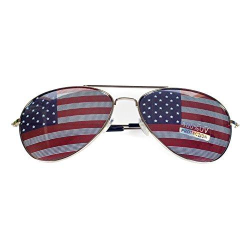 Goson American Flag Mirror Aviator Novelty Decorative Sunglasses (Silver)