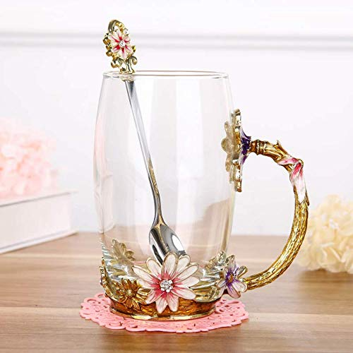 VYEKL Bunte Blume Teetasse Haus Wasser Tasse Wohnzimmer Kaffeetasse Kristall Glas Teetasse mit Abdeckung 350ml 2…