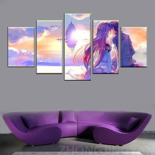 SJVR Anime Sword Art Online Amore Romantico Poster Quadri su Tela Immagine modulare 5 Pannelli Arte della Parete della Stanza dei BambiniSenza Cornice
