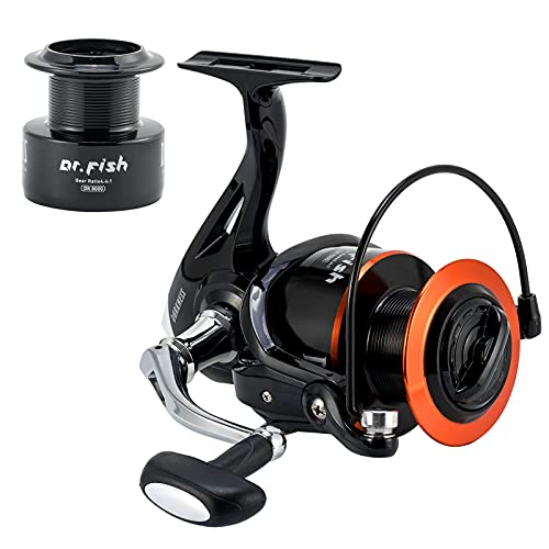 Dr.Fish Fishing Reel Saltwater Graphite Body 9+1 Surf Cast Reel Stainless Steel BB Spare Spool 35lb Carbon Fiber Drag Heavy Duty Large Offshore Fishing 8000