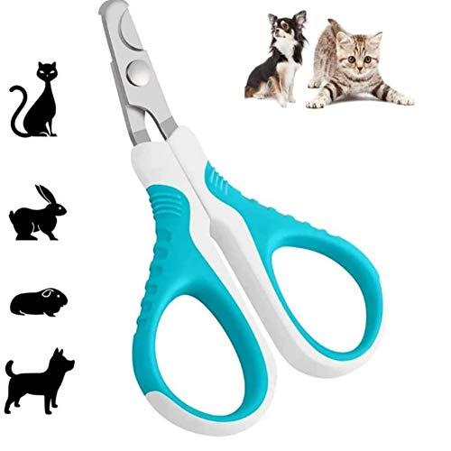 Moter Katze Nagelschere, professionelle Haustier Nagelschere mit Edelstahl gekrümmter Klinge und rutschfesten Griff, einfach zu bedienen für Kleintiere