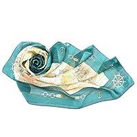 キヌフローレス 横浜 スカーフ 高級 シルク 100% 日本製 大判 正方形 88×88 マリン柄 船 錨 海 地図 モチーフ ユーラシア (グリーン)