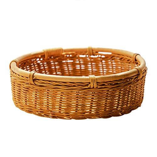 SLZ Rattan Storage Basket Woven Basket Kitchen Fruit And Vegetable Finishing Basket Bread Basket With Handle Storage Basket Fruit Plate, Natural Color
