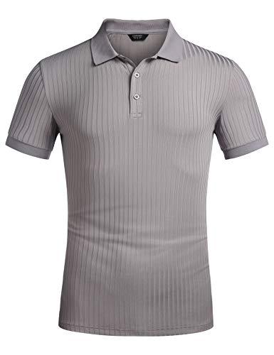 COOFANDY Herren Poloshirt Casual T-Shirt Schnelltrocknend Polohemd Kurzarm Slim Fit Hemd Polo Shirt Klassische Streifen Polohemd XXL