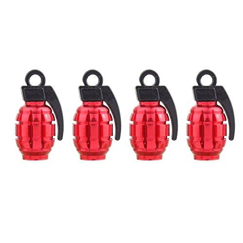 TOMALL Red Grenade Reifen Ventilkappen für Auto Truck Bike
