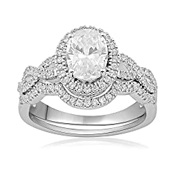 Jewelili Sterling Silver Cubic Zirconia Oval and Round-Cut Halo Bridal Set