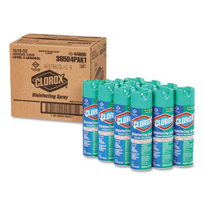 Clorox 38504 Disinfecting Aerosol Spray, 19 oz, Pack of 12