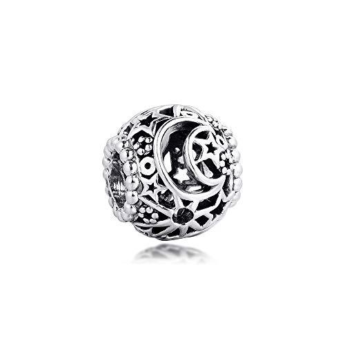 Diy 925 Colgante De Pandora Se Adapta A Pulseras De Plata Esterlina Calado Sol Estrellas Luna Abalorios Para Mujeres Fabricación De Joyas