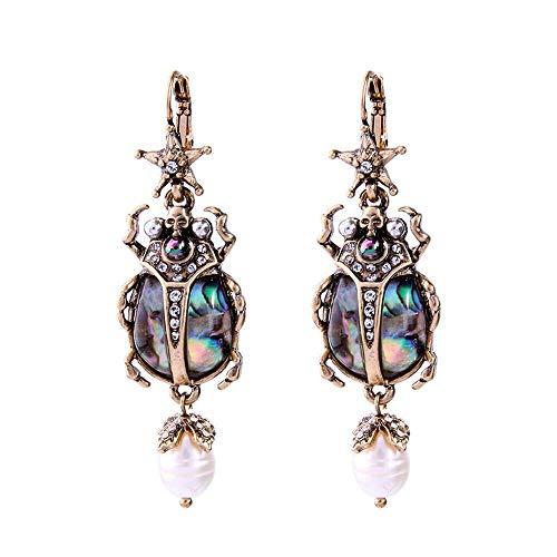 N-K Pulabo - Pendientes de mariquita, estilo retro, con perlas naturales, cómodos y ecológicos, hermosos y hermosos