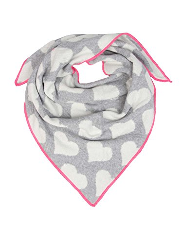 Cashmere Dreams Dreieckstuch mit Kaschmir - Hochwertiger Schal mit Herzen für Baby-s Jungen und Mädchen - XXL Hals-Tuch - Strick-Waren für Sommer und Winter Zwillingsherz (hgr/pin)