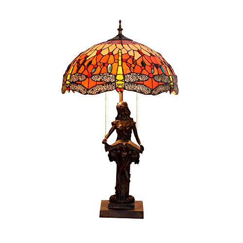 LHQ-HQ Modelo de la libélula del estilo de Tiffany con rojo de cristal Lámparas de mesa hecha a mano retra Dormitorio Lámparas for sala de estar Sala de Estudio mesa de iluminación interior Lampwith b