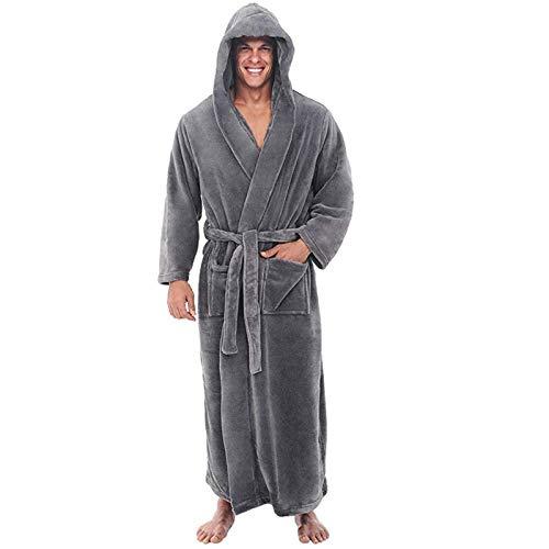 SSMENG Men's Winter Dressing Gown Fluffy Hooded Bathrobe for Gentleman Plush Fleece Lengthened Shawl Home Clothes Long Sleeved Robe Coat Gray