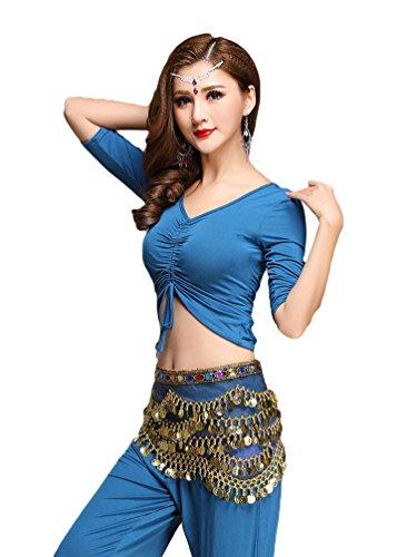 YiJee Damen Tanzkleidung Bauchtanz Kostüm Set Stammes- Indischer Tanz Top & Paillette Bauchtanz Hose Münzen Blau XL