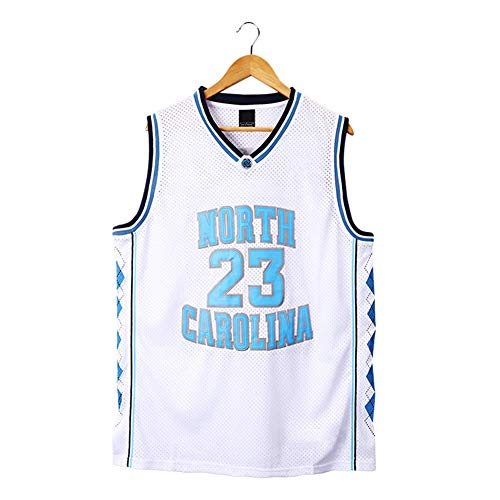 Jordan # 23 North Carolina Baloncesto Jersey para Hombres, Ropa Deportiva Unisex sin Mangas Camiseta Baloncesto Jersey (S-3XL)-M