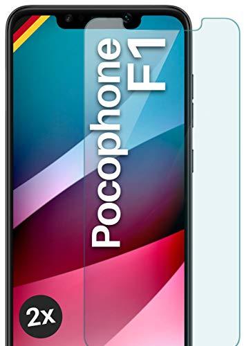 moex Panzerglas kompatibel mit Xiaomi Pocophone F1 - Schutzfolie aus Glas, bruchsichere Displayschutz Folie, Crystal Clear Panzerglasfolie, 2X Stück