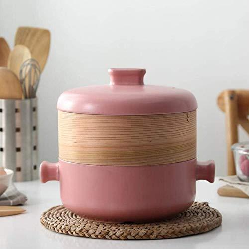 ETDWA Juego de vaporera con Tapa, ollas de Vapor, Olla de Sopa, Incluye Olla de Barro de cerámica y vaporera de bambú, Olla de Cocina multifunción para cocinar Sopa de Masa de Masa de Masa C 2.5l
